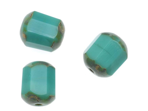 Czech Glass Cathedral Window Beads 8mm 'Turquoise/Picasso' (12)