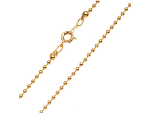 22K Gold Plated 2mm Ball Chain Necklace With Clasp - 16 Inches