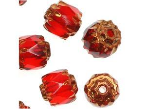 """Czech Cathedral Glass Beads 6mm """"Ruby"""" Red/Gold Ends 25"""
