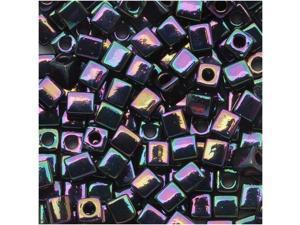 Miyuki 4mm Glass Cube Beads Metallic Dark Plum Iris 454 - 10 Gram Tube