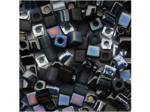 Miyuki 4mm Square Cube Bead Mix Lot Black Medley (10 Grams Tube)
