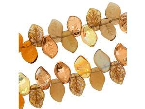 Czech Glass Wheatberry Brown Leaf Leaves 9X14mm/50 Bead