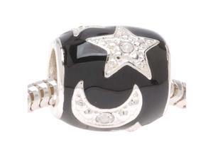 Silver Plated Black Enamel With Stars And Moons Bead - Fits European Style (1)