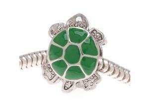 Silver Tone Two Sided Green Enamel Turtle - European Style Large Hole Bead (1)