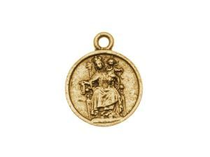 Nunn Design Antiqued Gold Plated Round Medallion Charm 'Reconciler' 22mm (1)