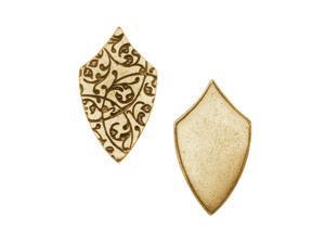 Nunn Design Antiqued Gold Plated Long Shield Pendant Tag 16.5x28.5mm (1)