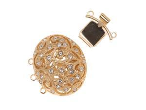 23K Gold Plated 3-Strand Box Clasp - Oval Floral Filigree With Crystals- 23x25mm