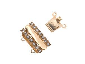 23K Gold Plated 2-Strand Box Clasp - Rectangular With Crystals - 18x13mm