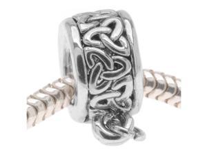 Silver Tone Celtic Knot Trinity Bead - Charm Bail With Loop -Fits European Style