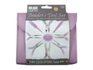 Beadsmith Purple Jewelers Tools 8 Pc Plier Kit W/ Case