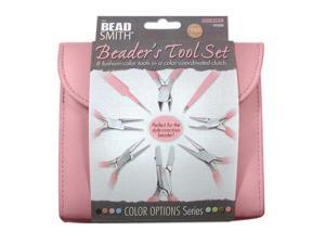 Beadsmith Pink Jewelers Tools 8 Pieces Plier Kit W/ Case