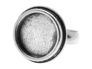 Nunn Design Antiqued Silver Plated Pewter Bezel Round Adjustable Ring 22mm (1)
