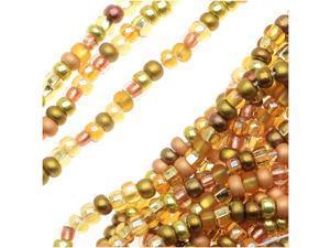"""Czech Seed Beads Mix Lot 11/0 """"All That Glitters"""" Golden Mix (1/2 Hank)"""