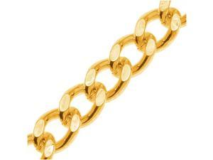 Bright Gold Toned Brass 7mm Heavy Flattened Curb Chain - By The Ft