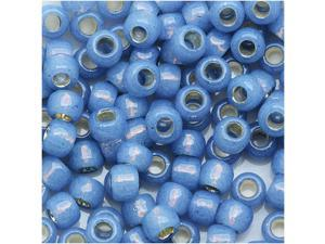 Toho Round Seed Beads 6/0 #2102 - Silver Lined Milky Montana Blue (8 Grams)