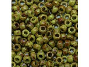 Toho Round Seed Beads 8/0 #Y310 - Hybrid Sour Apple Picasso (8 Grams)