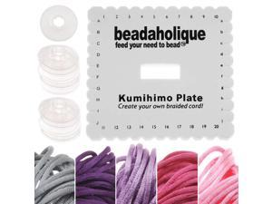 Kumihimo Braiding Kit Square Plate & Bobbins Pink/Purple 5 Color Satin 1mm Cord