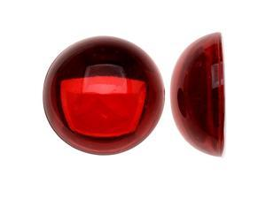 Vintage Lucite Plastic Round Domed Cabochon - Ruby Red / Foiled 20mm (6)