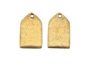 Nunn Design Antiqued 24kt Gold Plated Mini Flat Tag Pendant 10x17mm (2)