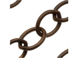 Vintaj Natural Brass 11.5x8.5mm Rounded Oval Chain - Sold By The Foot