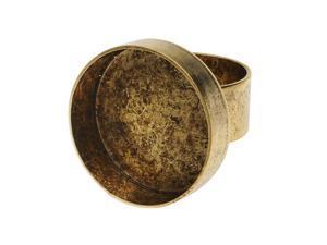 Nunn Design Deep Bezel Ring, Circle 24mm, 1 Ring, Antiqued Gold