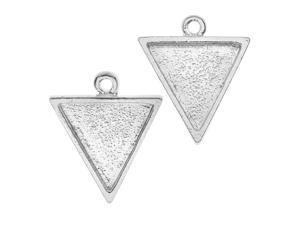 Nunn Design Bezel Charm, Triangle 15.5x18.5mm, 2 Pieces, Bright Silver