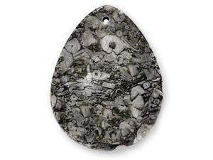 Fossil Jasper 35X45mm Large Teardrop Pendant Grey Black (1 Piece)