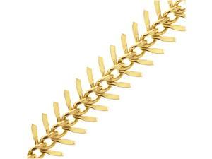 Gold Plated Brass Bulk Chain, 10.5mm Fishbone Links, 1 Foot, Bright Gold