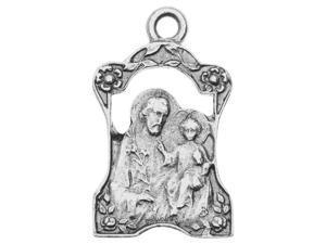 Nunn Design Charm, 27mm Religious Tutor Scene, 1 Piece, Antiqued Silver