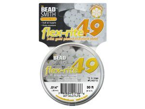 "BeadSmith Flex-Rite Beading Wire, 49 Strand .014"" Thick, 30 Ft, 24K Gold Plated"