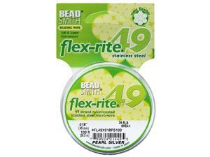 "BeadSmith Flex-Rite Beading Wire, 49 Strand .018"" Thick, 100 Feet, Pearl Silver"