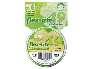 "BeadSmith Flex-Rite Beading Wire, 49 Strand .012"" Thick, 100 Ft Spool, Clear"