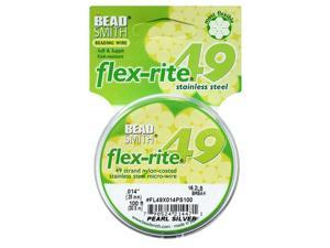 "BeadSmith Flex-Rite Beading Wire, 49 Strand .014"" Thick, 100 Feet, Pearl Silver"