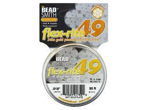 "BeadSmith Flex-Rite Beading Wire, 49 Strand .018"" Thick, 30 Ft, 24K Gold Plated"
