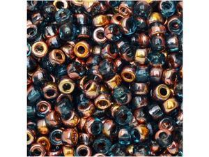 Czech Glass Matubo, 8/0 Seed Bead, 8 Gram Tube, Aqua Gold Capri