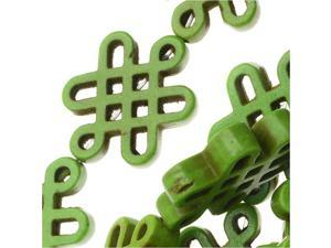 Dyed Magnesite Gemstone Beads, Celtic Knot 15x19.5mm, 15 Inch Strand, Lime Green