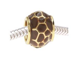 European Style Large Hole Bead, Giraffe Print 11.5mm, Gold with Brown Enamel