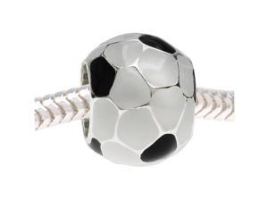 European Style Large Hole Bead, Soccer Ball 11mm, White and Black Enamel