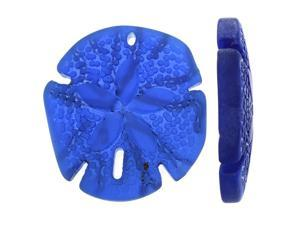 Cultured Sea Glass, Sand Dollar Pendants 40x36mm, 1 Piece, Royal Blue
