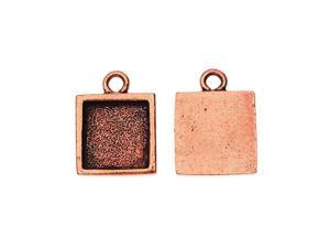 Nunn Design Charm, Itsy Square 11x14.5mm, 2 Pieces, Antiqued Copper