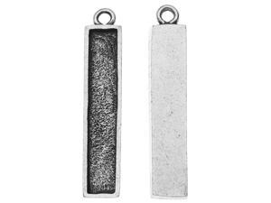 Nunn Design Charm, Itsy Rectangle Bezel 6x32mm, 2 Pieces, Antiqued Silver