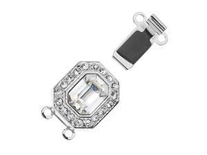 Elegant Elements, 3-Str Hexagon Box Clasp w/ Swarovski Crystals 22x12mm, Rhodium