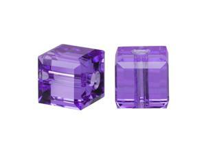 Swarovski Crystal, #5601 Cube Beads 4mm, 10 Pieces, Tanzanite