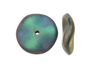 Czech Preciosa Glass Ripple Beads 12mm, 12 Pieces, Matte California Green