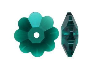 Swarovski Crystal, #3700 Flower Margarita Beads 10mm, 6 Pieces, Emerald