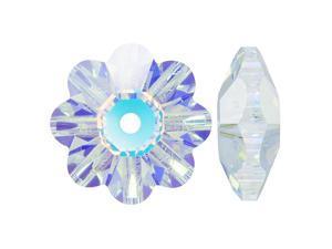 Swarovski Crystal, #3700 Flower Margarita Beads 8mm, 12 Pieces, Crystal AB