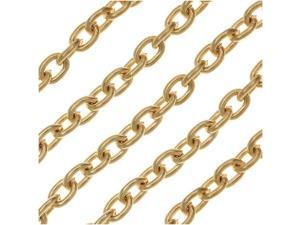 Vintaj Vogue Bulk Chain, Classic Cable Links 4x3mm, Sold By The Foot, Brass
