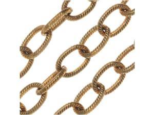Vintaj Vogue Bulk Chain, Etched Cable Links 6mm, Sold By The Foot, Raw Brass