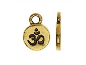 Nunn Design Itsy Charm, Om Ohm Aum 9mm, 1 Piece, Antiqued Gold Plated