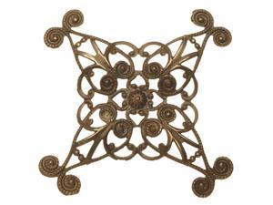 Vintaj Natural Brass, Diamond Swirls Wrapping Filigree 60mm, 1 Piece, Brass